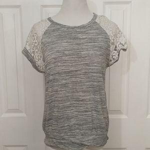 Le Lis gray top with lace shoulders size m